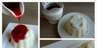 Een collage van 4 foto;s van griesmeelpudding met bessensap saus. De griesmeelpuddings zijn gemaakt in kleine puddingvormen met een olifant of vis erop.
