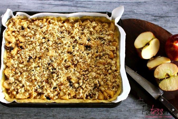 Appel plaat taart met walnoten patesserie - Plaat hoek bakken ...