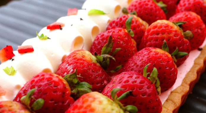 Aardbeien Bavarois Taart, patesserie, aardbeien