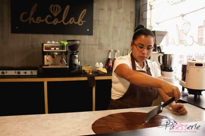 Chocolab, patesserie, hoja verde, ecuador, chocoladereep maken