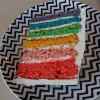 De Regenboogtaart die ik samen met mijn nichtjes maakte