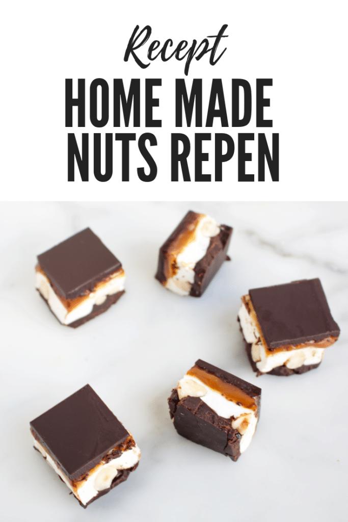 vijf blokjes home made nuts repen, chocoladerepen gevuld met marshmallow, hazelnoten en een laagje karamel