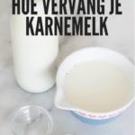 fles karnemelk, kom melk en azijn om zelf karnemelk te maken