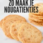 6 amsterdamse koggetjes of nougatientjes, een typisch nederlands koekje met karamelstukjes erin.