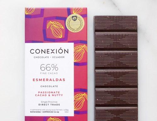 wikkel en reep chocolade van Conexión - Esmeraldas 66%