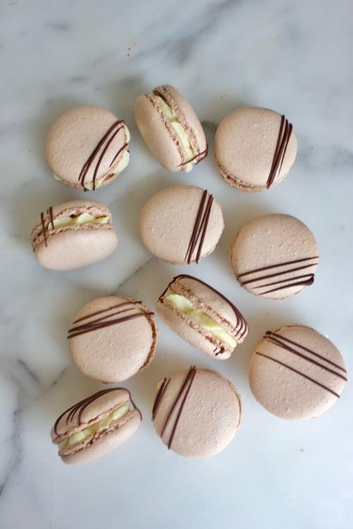 chocolade macarons met koffie vulling