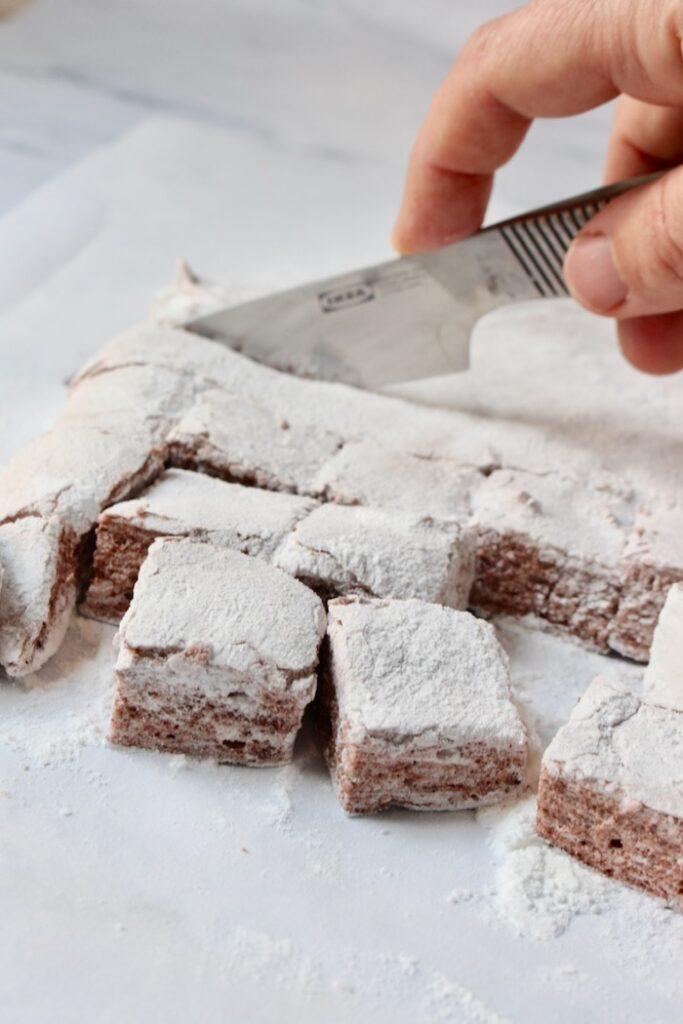 gesneden chocolade marshmallow