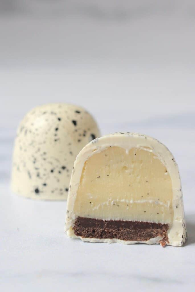 vanille bonbons maken, doorsnede van de vanille bonbon